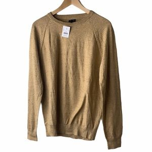 J Crew Textured cotton crewneck sweater Camel